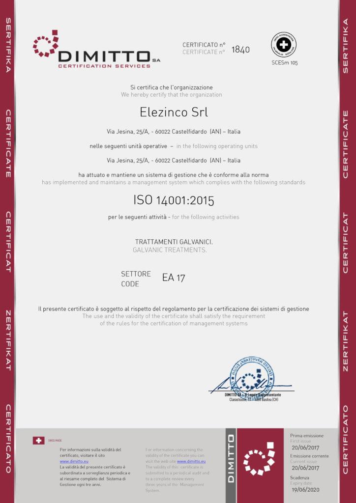 Certificazione ISO 14001:2015